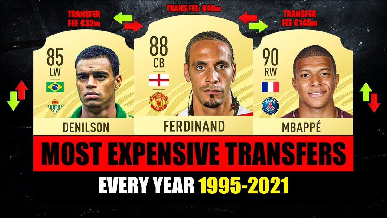 MOST EXPENSIVE TRANSFERS from 1995 to 2021! 😱🔥 ft. Denilson, Mbappe, Ferdinand…