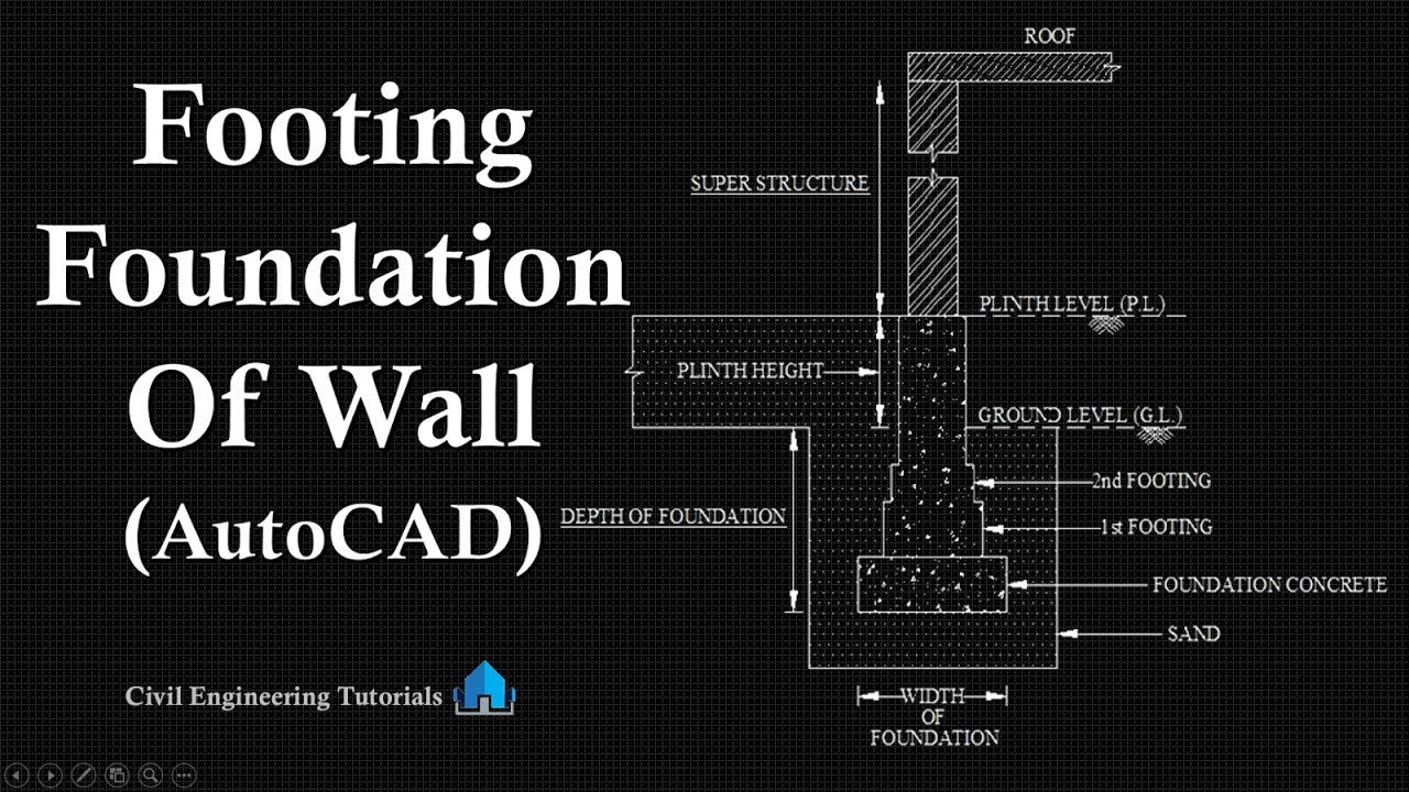 How To Draw Footing Foundation Of Wall In Autocad Civil