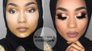 EID makeup tutorial | black and gold eyeshadow with a pop of navy | Sabina Hannan