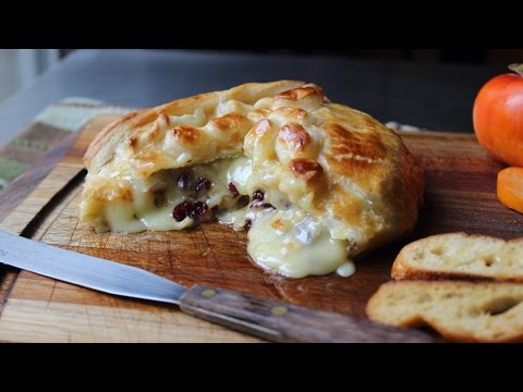 Baked Stuffed Brie - Brie en Croute stuffed with Cranberries