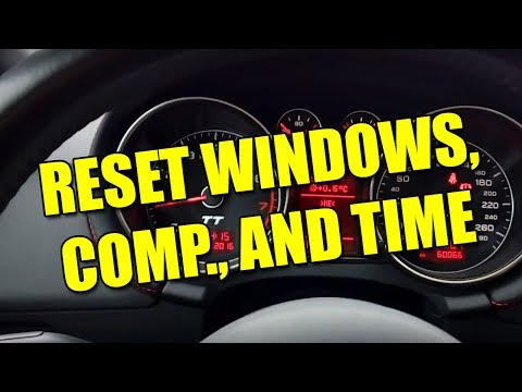 How to reset windows, board computer, and time after reconnecting battery on Audi TT Mk2