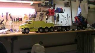 RC tow truck in action