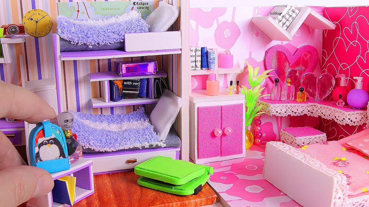 4 DIY Miniature Dollhouse Rooms - YouTube