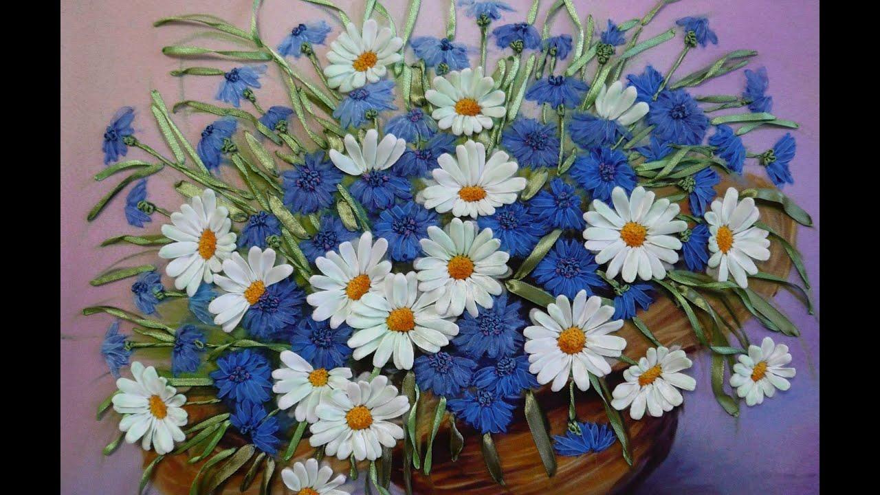 Вышивка лентами. Картина «Полевые цветы». Часть 1 13