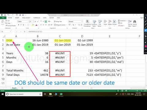 How To Calculate Age As Year, Month, Days & How Fix NUM Error In MS Excel 2013