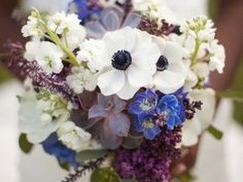 Anemone Delphinium And Rose Bouquet Centerpiece Youtube