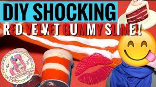 DIY SHOCKING RED VELVET GUMMY SLIME! thumbxslime ! || SLIME TUTORIAL INDONESIA ! MUDAH !