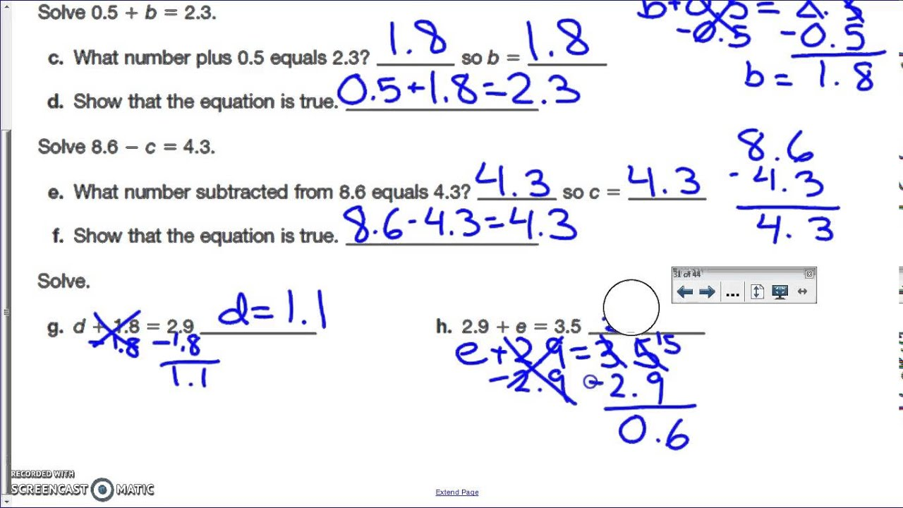 worksheet Addition And Subtraction With Decimals solving decimal equations addition subtraction youtube subtraction