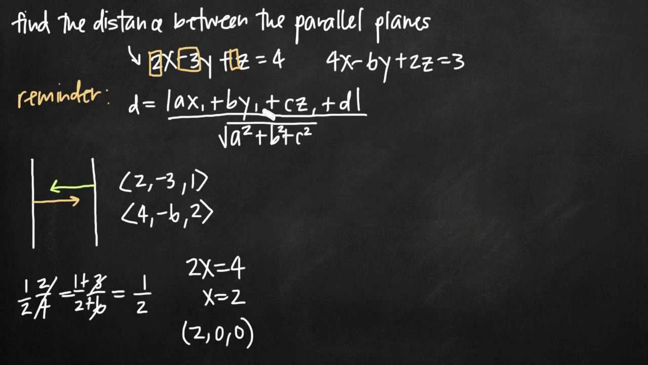 parallel planes equations. distance between parallel planes (vectors) (kristakingmath) equations e