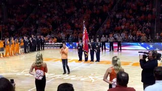 """Lawson Bates singing the """"National Anthem"""" for the Tennessee men's college basketball game. 2/20/16"""