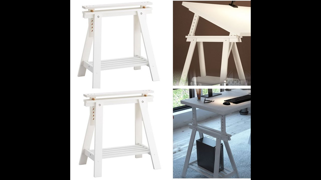 High Quality BHG White Trestle Leg With Shelf Assembly   YouTube