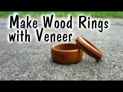 Making wooden Rings with Veneer // Woodworking - How to