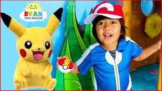 Ryan Pretend Play with Pikachu Pokemon Go