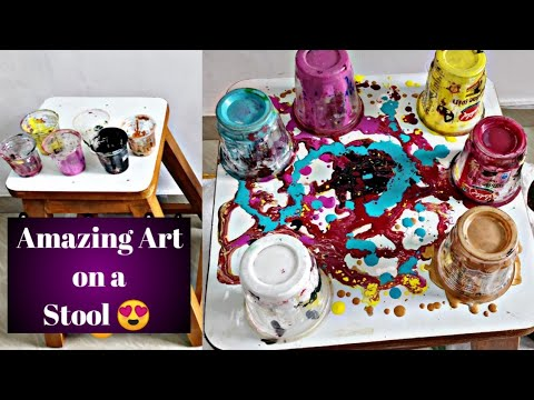 Fluid Art Painting | Wooden Stool Makeover | Upcycling Furniture | Satisfying Video