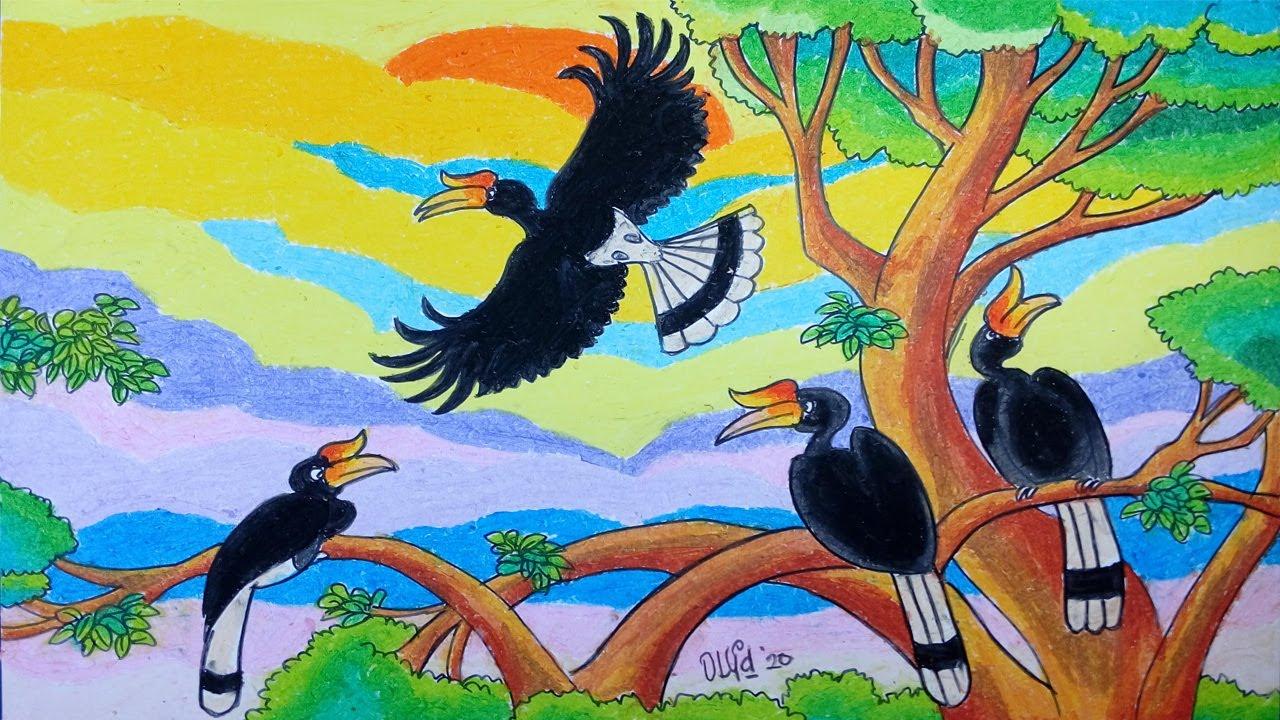 Menggambar Burung Rangkong Enggang Dengan Crayon Oil Pastel Gambar Hewan Cara Menggambar Gambar Burung
