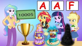 Equestria Girls The Funny Story Of Learn Make Cake Disney Princess Mermaid Ariel Rapuzel