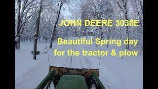 John Deere 3038E Tractor & Plow - Plowing April Snow Showers #2