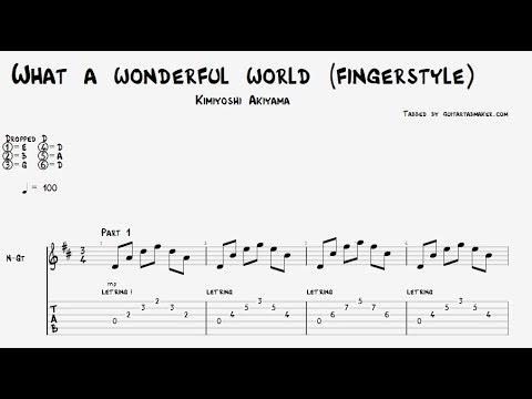Wonderful World TAB - fingerstyle classical guitar tab - PDF - Guitar Pro