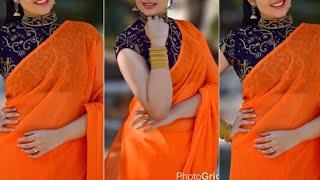 Beautiful plain saree with designer blouse/summer 2018 saree collection