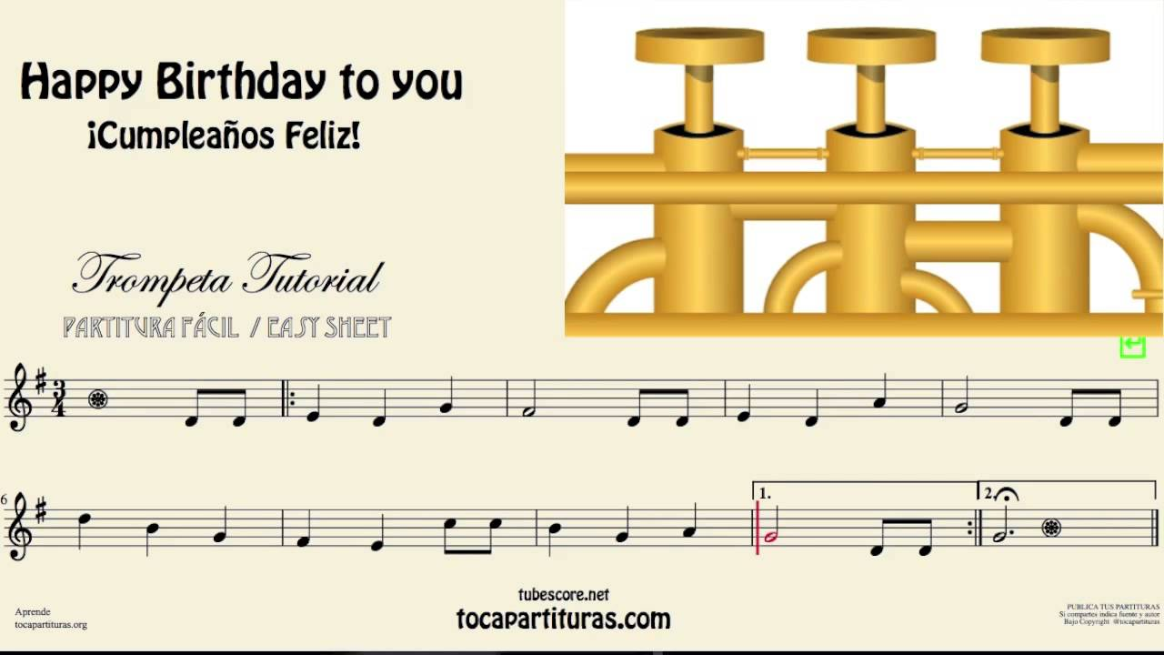 Happy Birthday To You Video Tutorial for Trumpet Easy Sheet Music in G Major
