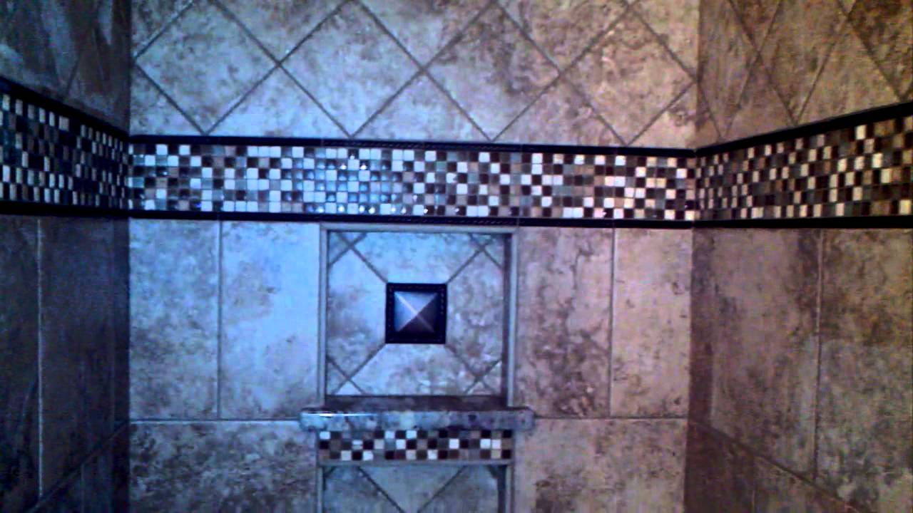 Small tile walk in shower with big style - YouTube