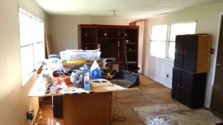 Before and after of a 1972 mobile home remodel