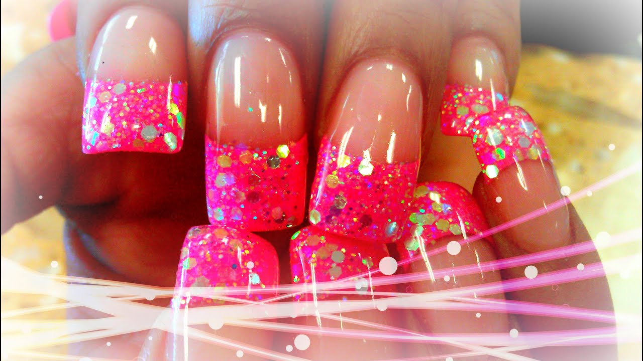 P1 HOW TO GLITTERY ACRYLIC NAIL DESIGNS - YouTube