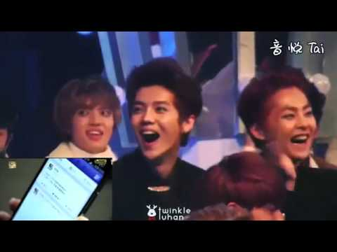 EXO Luhan's reaction to his own drama,sooo funny! @SBS Gayo Daejeon Fancam