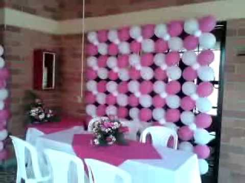 decoracion primera comunion nina globos