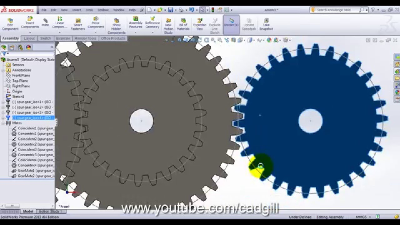 Compound Gear Train - Video Tutorial SolidWorks - YouTube