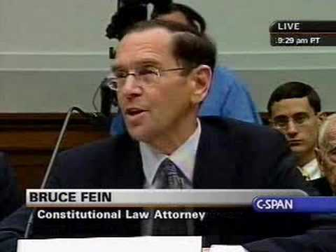 Hearing on Executive Power - Bruce Fein Testifies