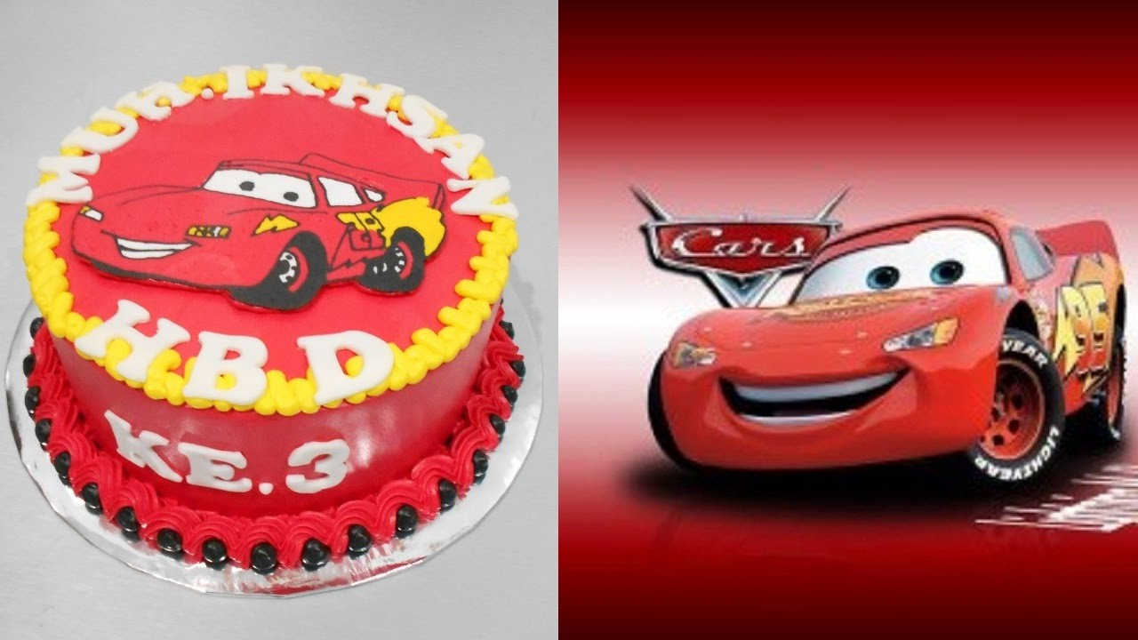 Mcqueen Cake Decorations : Lightning Mcqueen Cars Cake Decoration Easy - YouTube