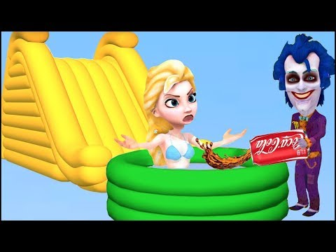 BABY ELSA w/ Spiderman bath time in COKE ! 3D Clay Water Slide Fun Inflatable Toys Super Heroes