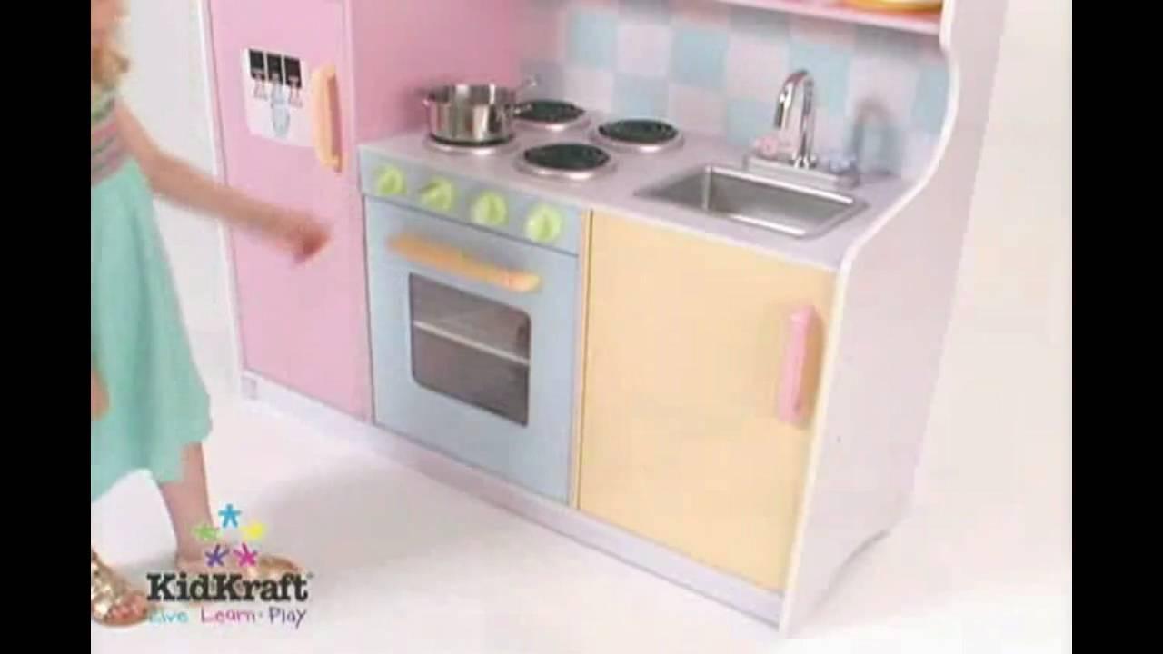 kidkraft large pastel play kitchen KidKraft Large Pastel Kitchen 53181 - Perfect Wooden Kitchen Playset - YouTube