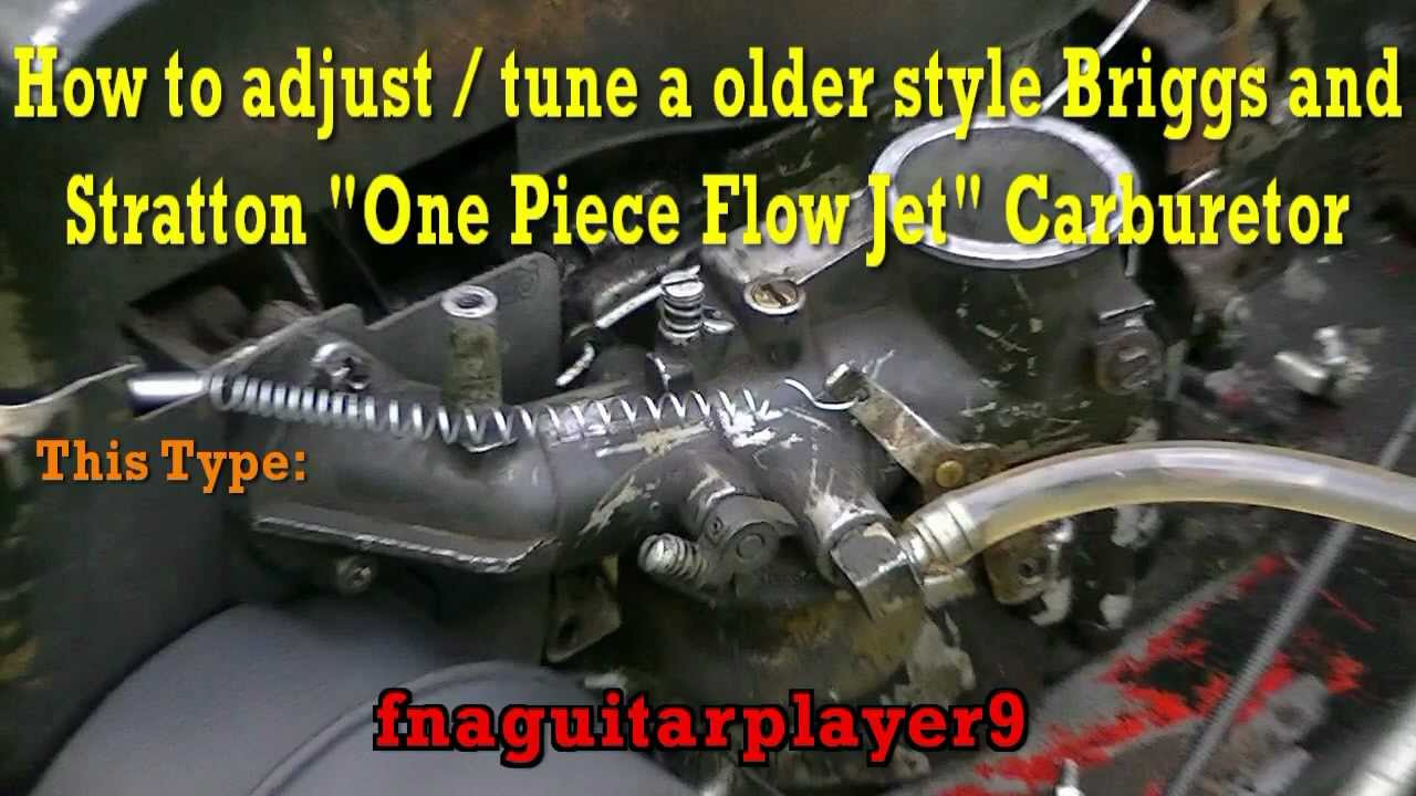 How to adjust a Briggs and Stratton One Piece Flow Jet Carburetor ...