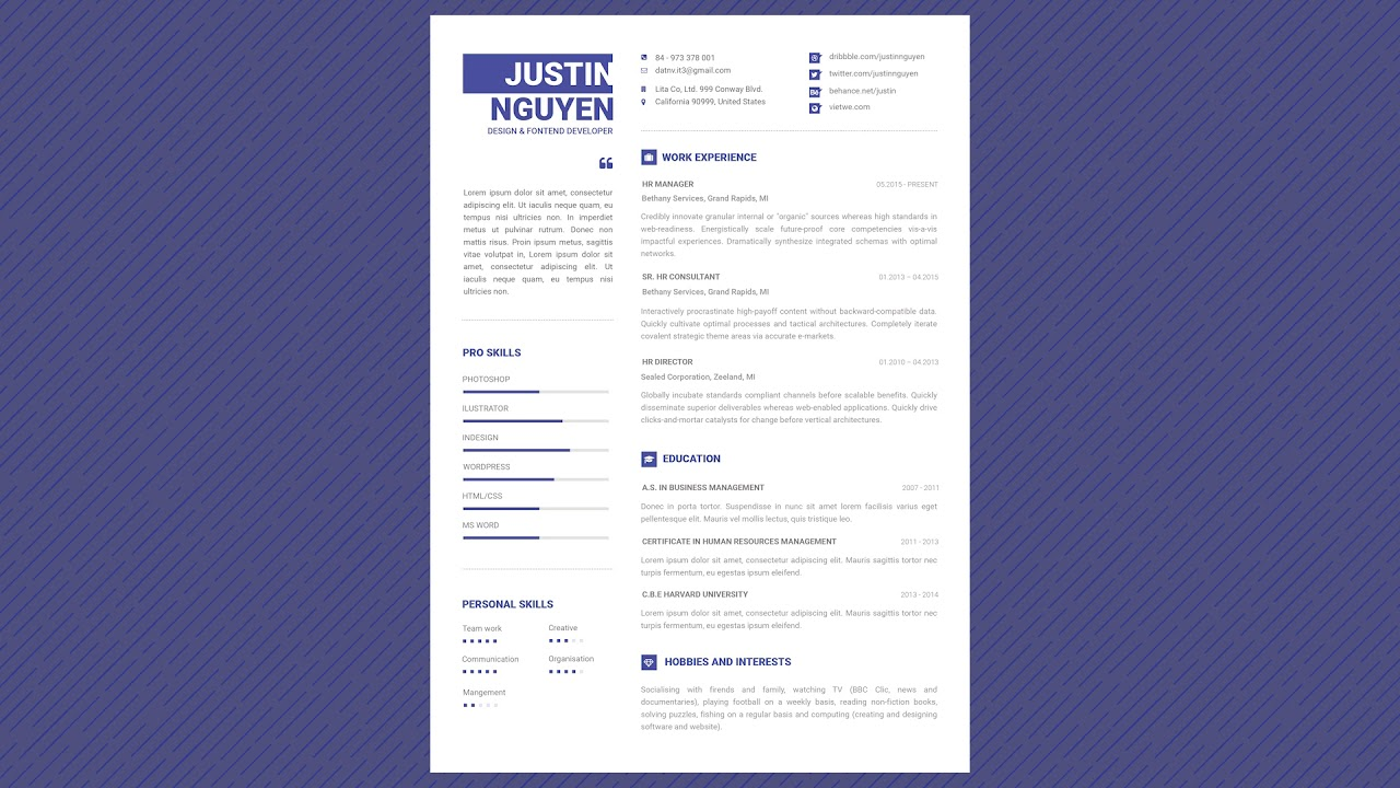 99 Cents Professional Resume Template Minimalist Pro Youtube