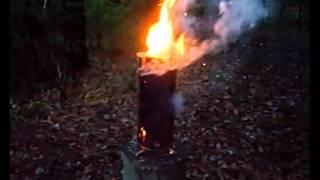 Как горит таежная свеча (древесный примус) 2