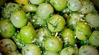 Квашеные Зелёные Помидоры Фаршированные Зеленью и Чесноком