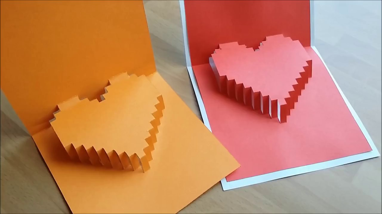 Diy Craft 3d Heart Pop Up Card Gor Det Sjalv 3d Hjarta Kort