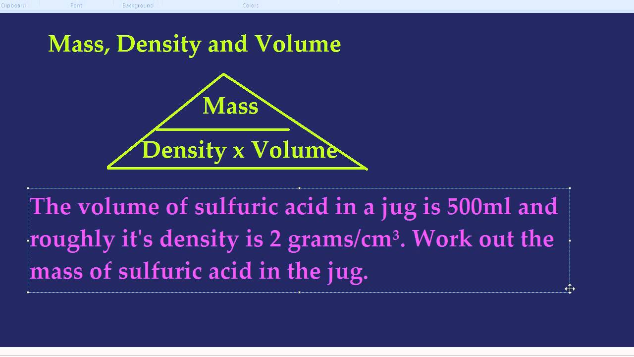 density mass and volume The density of an object is the mass of the object compared to its volume the equation for density is: density = mass/volume or d = m/v each substance has its own characteristic density because of the size, mass, and arrangement of its atoms or molecules.