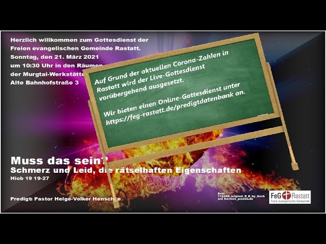 Online-Gottesdienst der FeG Rastatt am 21. März 2021