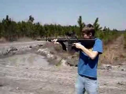 Dave shooting the M16