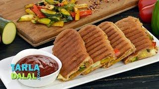 Zucchini and Bell Pepper Sandwich by Tarla Dalal