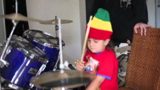 4 Year old Shem playing reggae Drums from New Zealand.