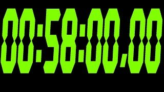 #327 58 Minute Stopwatch with black bacground and green digits 720p