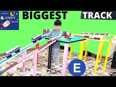 Johny Builds BIGGEST Wooden Track Layout For New Munipals MTA Subway Train Toys & Trackmaster