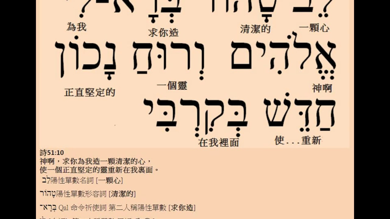 聖經舊約希伯來文金句朗讀與分析: 詩篇 51 -10 - YouTube