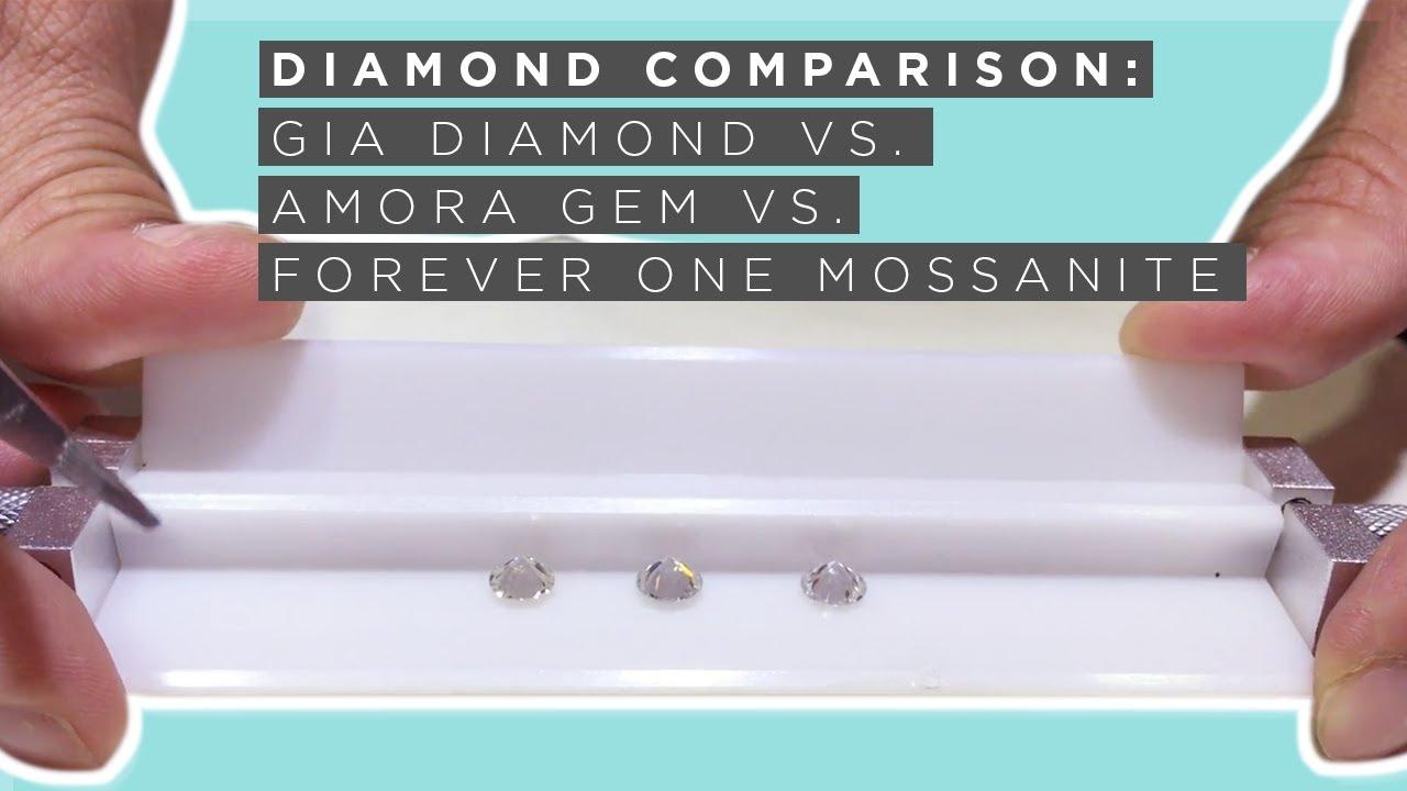 GIA Diamond v  *Amora Gem v  Forever One Moissanite - Fire & Brilliance ®