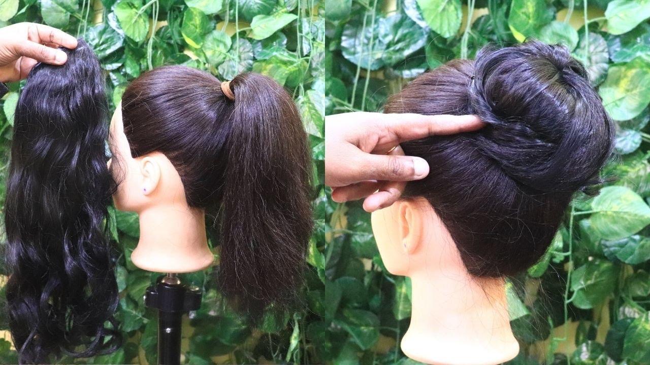 Download EASY Everyday Messy Bun Hairstyle | Simple Bun Hair Tutorial using hair extension | KGS Hairstyles