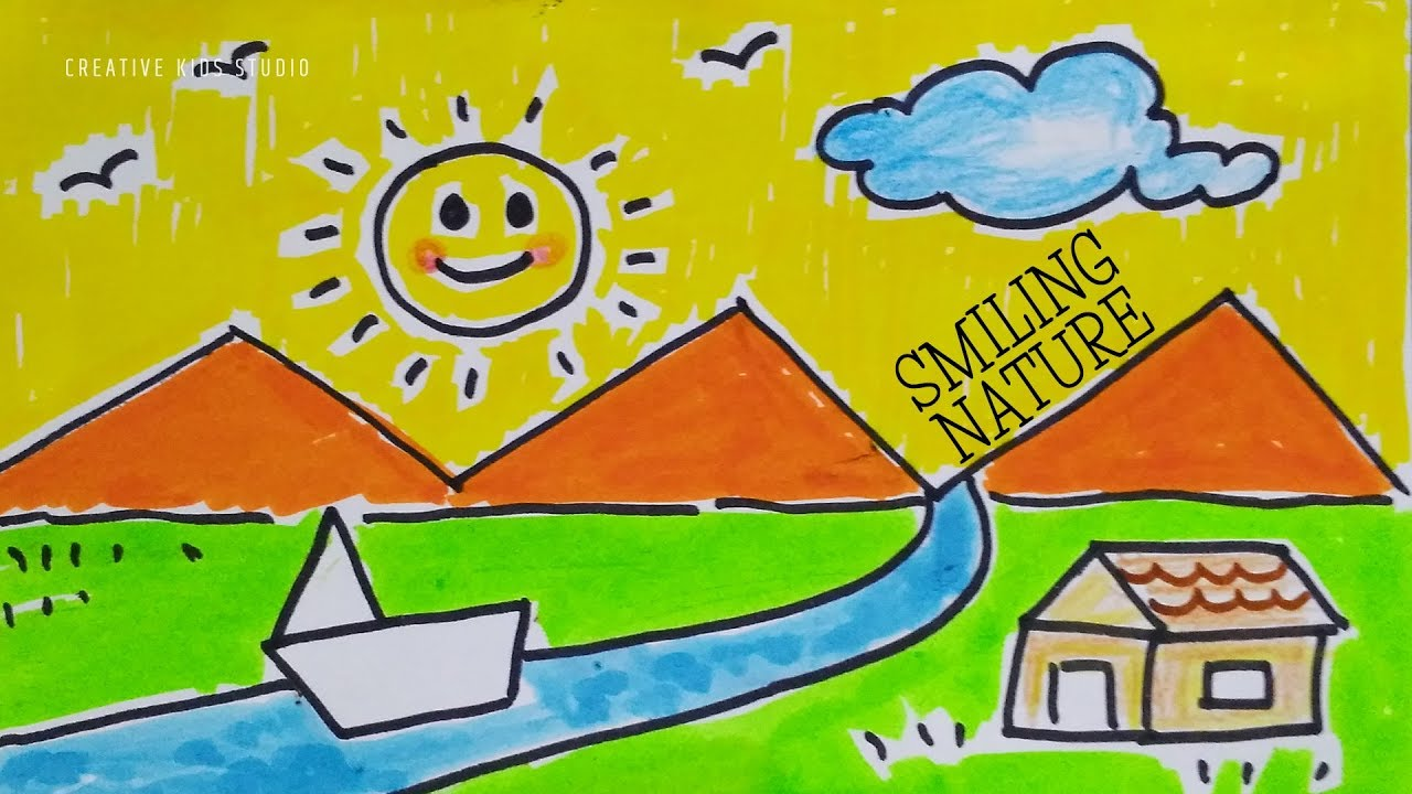 How To Draw Nature Memory Drawing For Kids How To Draw Simple Landscape Step By Step For Kids Youtube